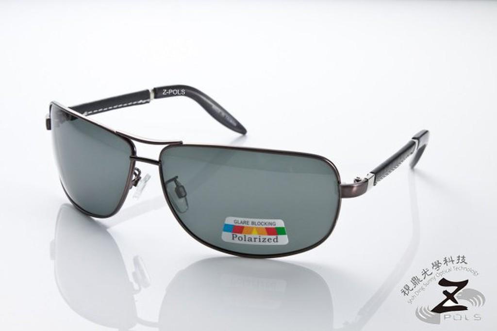 【視鼎Z-POLS頂級皮革設計款】金屬復古褐色版帥氣流行100%偏光搭皮革腳UV4偏光眼鏡!