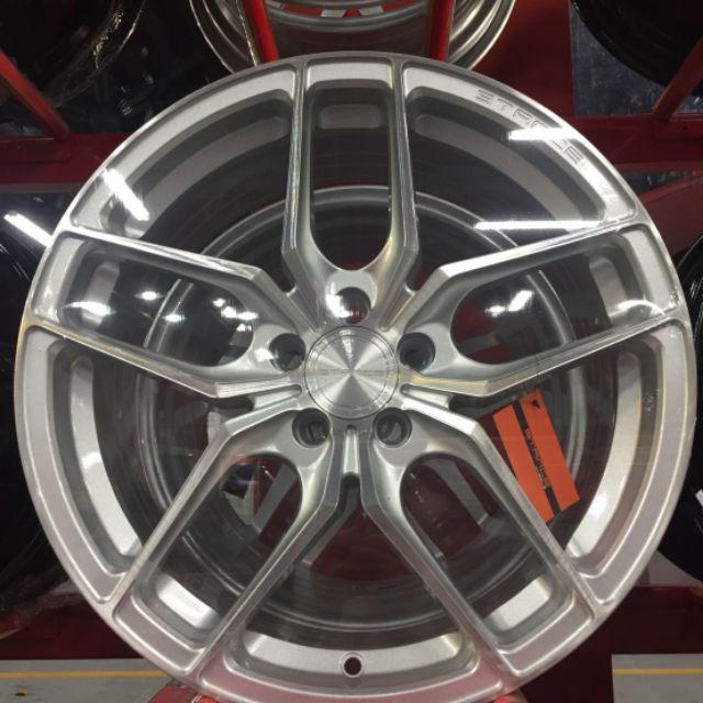 美國STANCE 17吋5孔100銀底車面旋壓輕量鋁圈~SKODA SIENTA WISH(88不是商品售價 請洽詢)