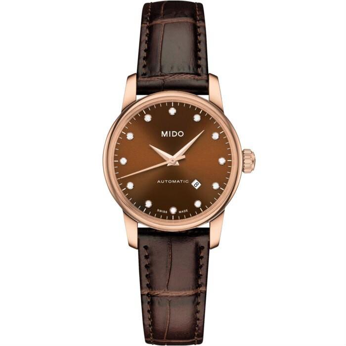 Mido 美度錶 M76003648 Baroncelli系列瑞士簡潔內斂鑽石腕錶/棕 29mm