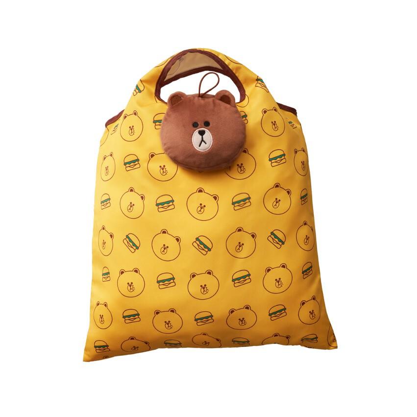 [限貨]2021 麥當勞 開春熊有禮 限量熊大 熊大雙層帆布包 熊大折疊手提袋 環保購物袋 購物袋 黃色 春節提袋