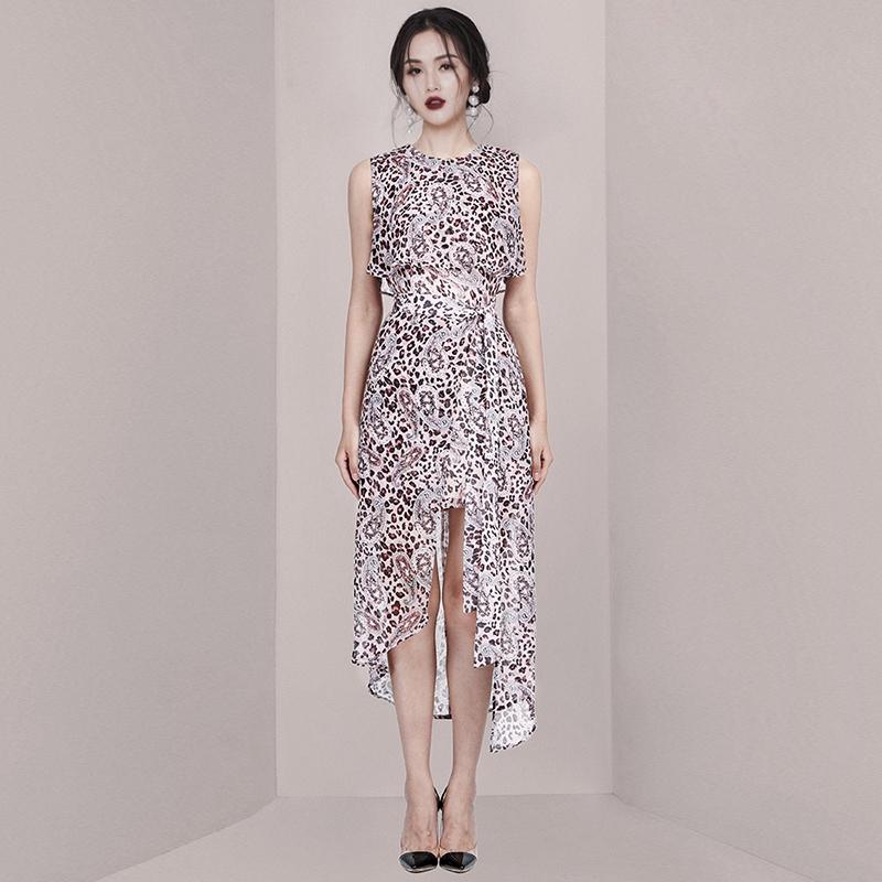 正韓洋裝夏天設計感豹纹長洋裝燕尾洋裝無袖連衣裙