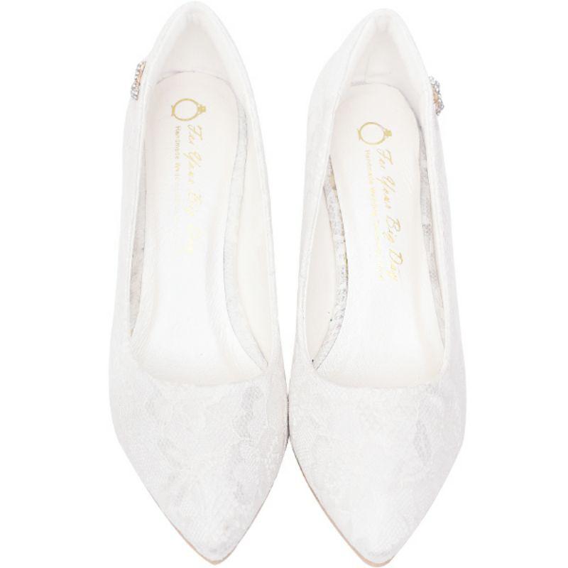 Ann's 新娘鞋 小蝴蝶結鑽扣尖頭低跟鞋 6cm 新娘白 全新 36號