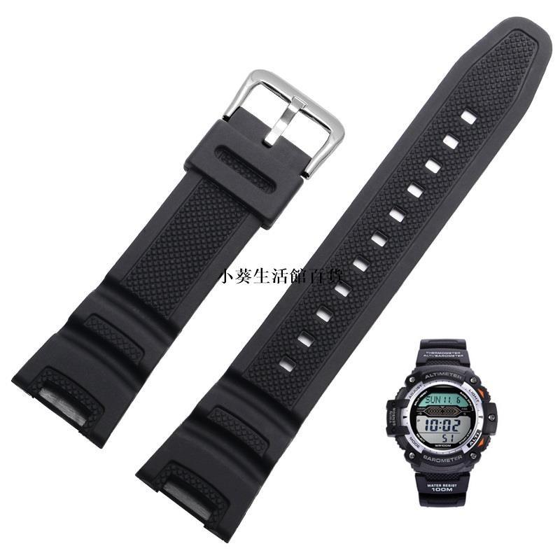 【小葵生活館百貨】卡西歐手錶帶,用於雙傳感器Sgw100 Sgw-100-1v黑色橡膠錶帶