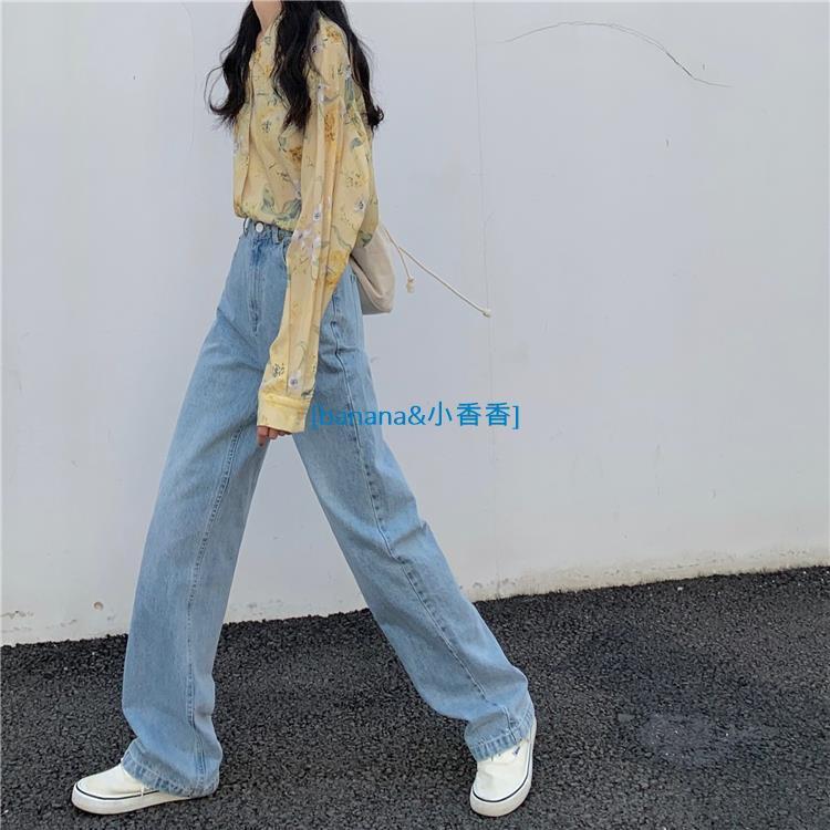 泫雅風ㄌ✨💖淺藍色牛仔褲 寬松高腰顯瘦百搭顯腿長老爹褲 落地長褲banana小香香線上商店