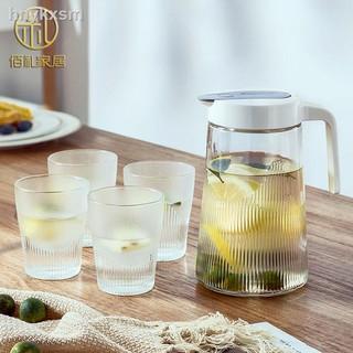 ☑♈┋【加厚款】1.3L冷涼水壺家用玻璃大容量號杯子果汁泡茶壺杯具套裝