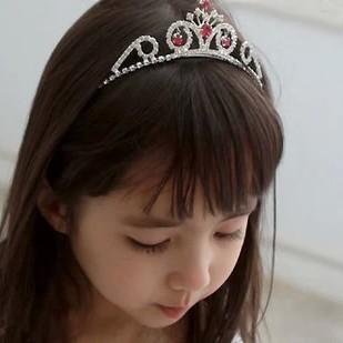 公主玫紅水鑚大皇冠髮箍髮圈/頭飾髮飾花童禮服芭蕾配件周年照寫真萬聖節變裝