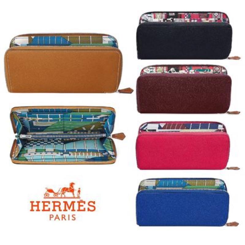 《全新現貨》保證正品全新Hermes 愛馬仕絲巾長夾 silk in compact焦糖色 大象灰 黑色 可預訂各色