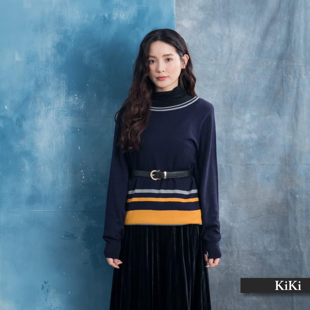【KiKi】條紋拼接設計款-針織衫(三色/版型寬鬆)
