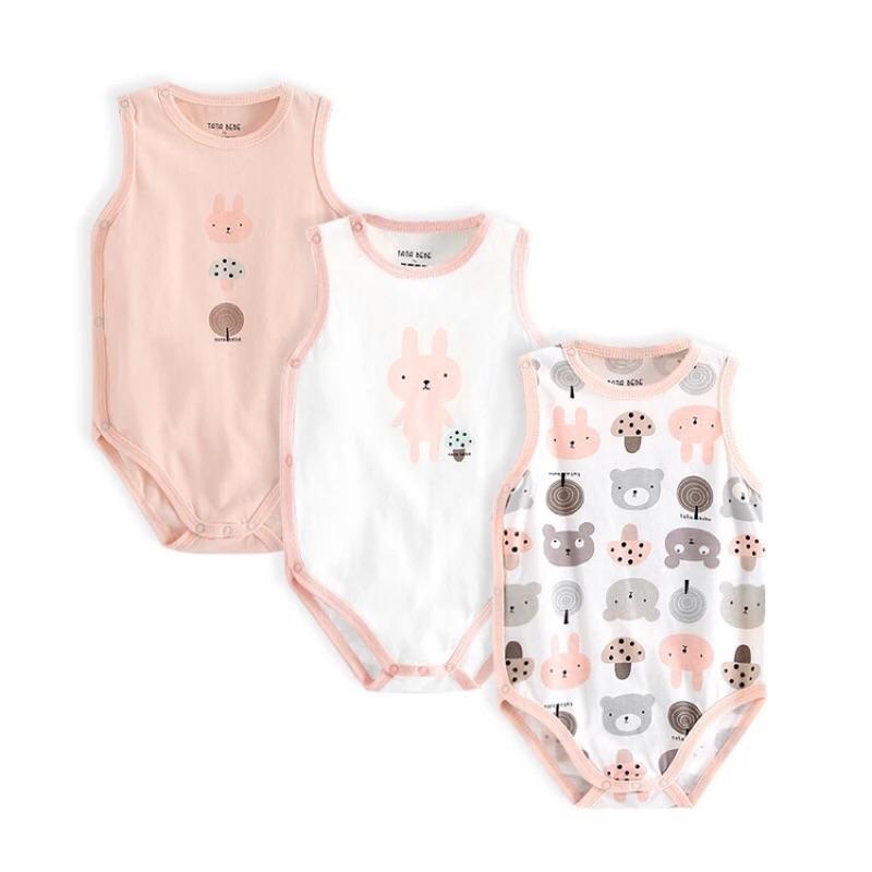 安安麻麻❣️女寶粉嫩色系包屁衣 嬰兒包屁衣寶寶純棉三角哈衣新生兒連體衣無袖背心爬服