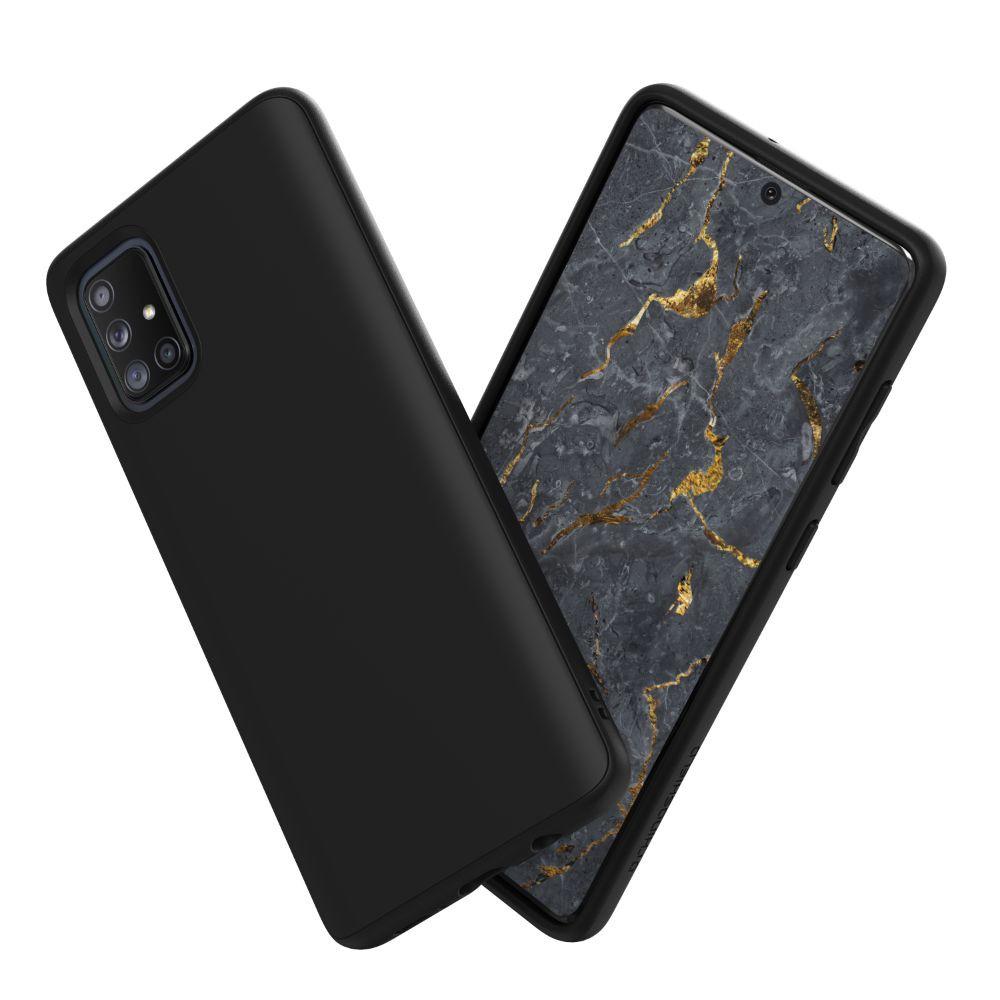 犀牛盾適用Samsung Galaxy A71(4G) SolidSuit碳纖維紋路/經典黑防摔背蓋手機殼(不適用5G)
