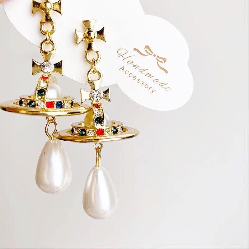[MUSI創意玩星球] 立體星球造型華麗耳釘耳環珍珠長型誇張個性大耳釘耳環夾式耳環