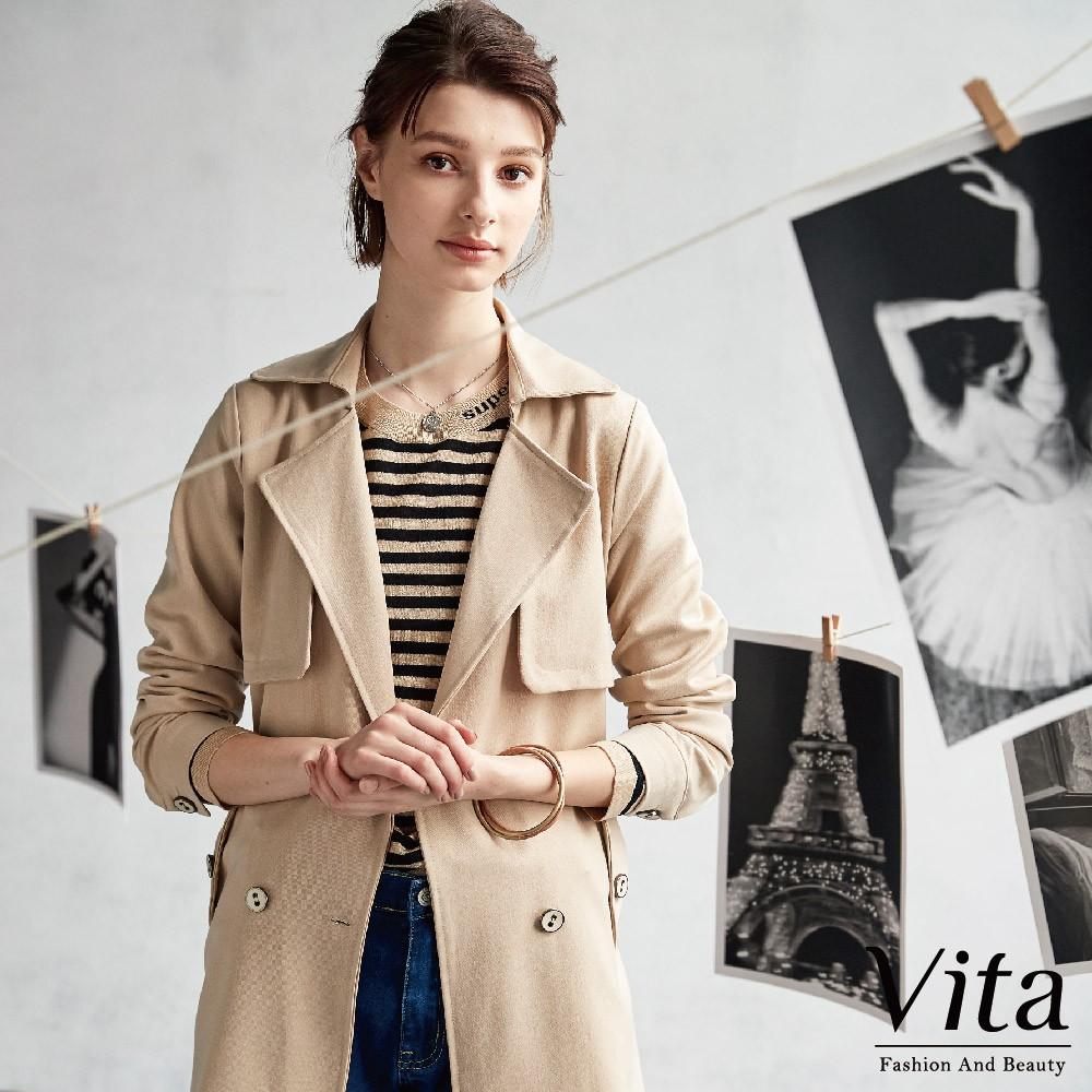 Vita-翻領後綁帶長版大衣-卡其-0460-67161-58