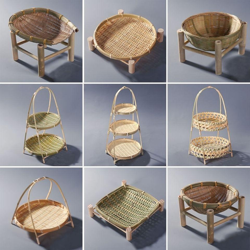 竹編製品水果盤點心籃木架提籃幹果籃竹製收納籃子手工可盛物竹籃