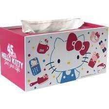 ღTammy泰咪ღ HELLO KITTY45th繽紛多功能收納盒 木製面紙盒 多功能桌上收納