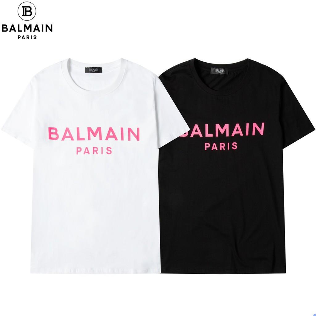 Balmain 新款 粉紅色字母logo印花 短袖T恤 短袖T恤 夏季 短袖 T恤 女生 上衣 現貨 潮牌 男生T恤