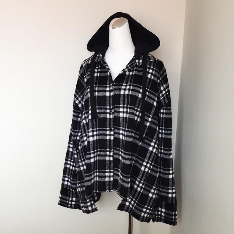 磨毛格紋連帽襯衫式外套 長袖 排扣 寬鬆 女裝 上衣 二手