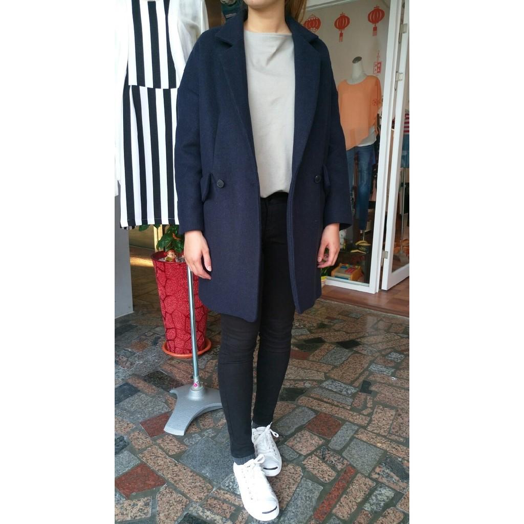 <<正韓>>藍色厚款長版大衣