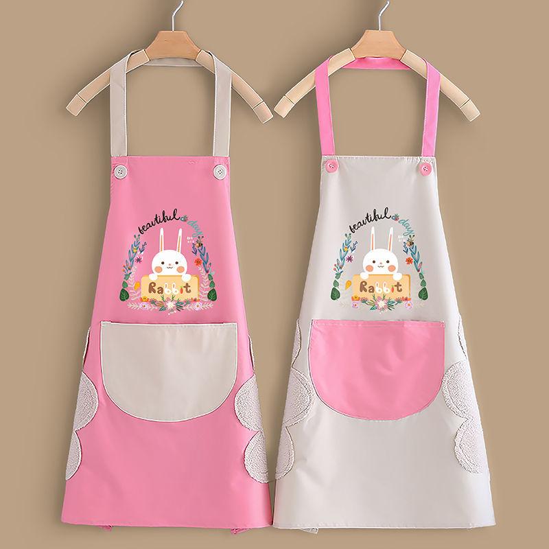【熱賣】廚房家用可愛做飯網紅圍裙女防水防油韓版時尚圍腰男女