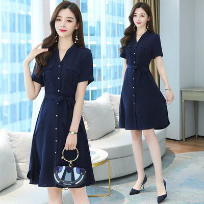洋裝 裙子實拍S-2XL氣質OL職業連衣裙 夏季中長款收腰顯瘦正裝襯衫裙子T105.8173愛尚依人