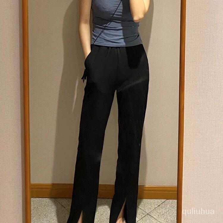 冰絲褲開叉大碼長褲拖地春夏寬鬆休閒垂感女女裝闊腿褲