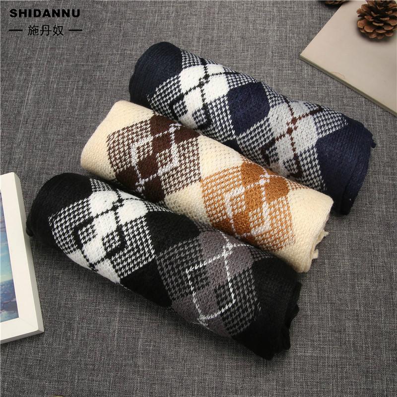 韓版格子圍巾 長款保暖加厚圍巾 學生仿羊絨披肩 情侶圍脖 現貨