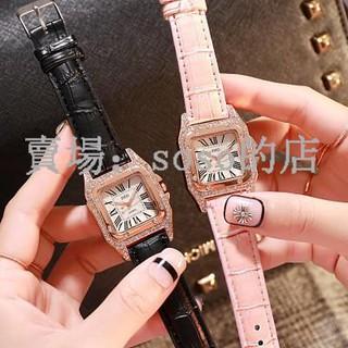 soso·團購爆款娃娃機貨源Cartier同款時尚腕錶簡約H字面方形鑲鑽豪華潮流女式手錶水鑽石英表學生女士表