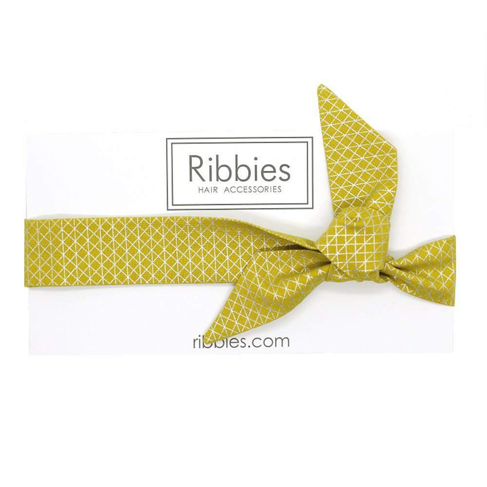 英國Ribbies 成人蝴蝶結髮帶-金色幾何圖形