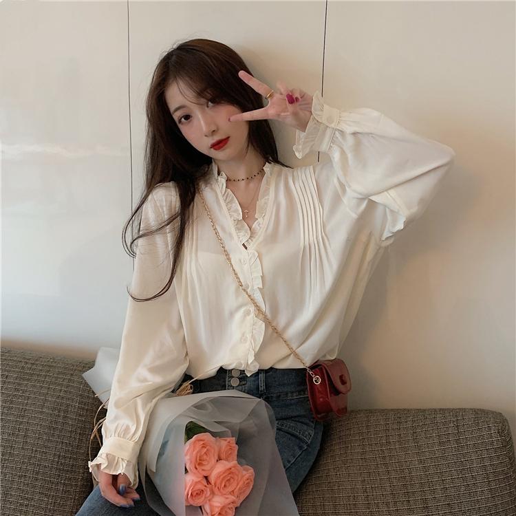 【免運】新款仙氣襯衣甜美百搭花邊V領設計感襯衫 長袖純色寬鬆襯衫開衫 氣質chic上衣女生衣著