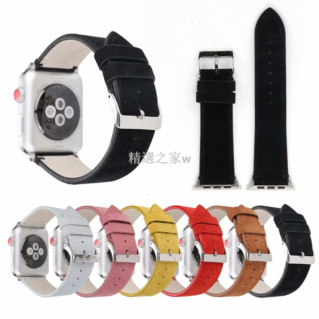 apple watch 錶帶 適用 蘋果1 2  3 4 代磨砂真皮表帶  適用于apple wat/電子01