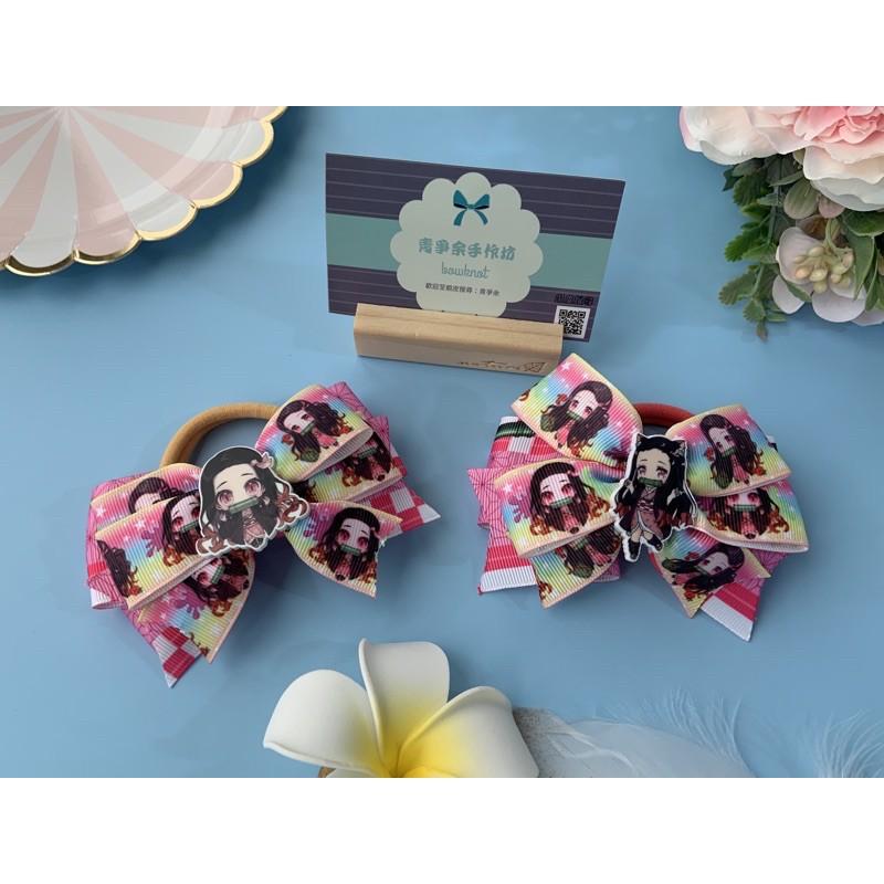 《青爭余手作》鬼滅之刃系列<雙翼髮圈>兒童髮飾、可愛髮圈、蝴蝶結、緞帶