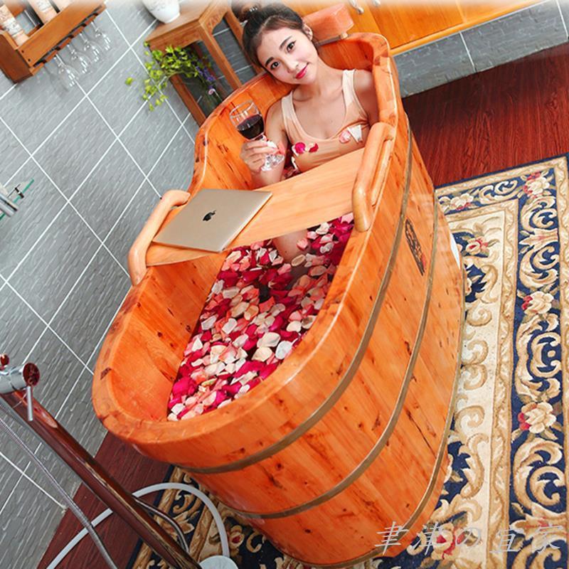 直出~免運【好市多市集】香柏木木桶浴桶成人實木泡澡桶浴盆木質浴缸洗澡桶美容家用帶蓋#免運直出