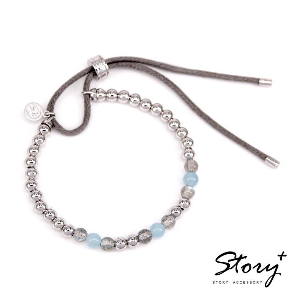 STORY故事銀飾-Ice Bubbles 天然藍灰拉長石&海藍寶純銀手鍊