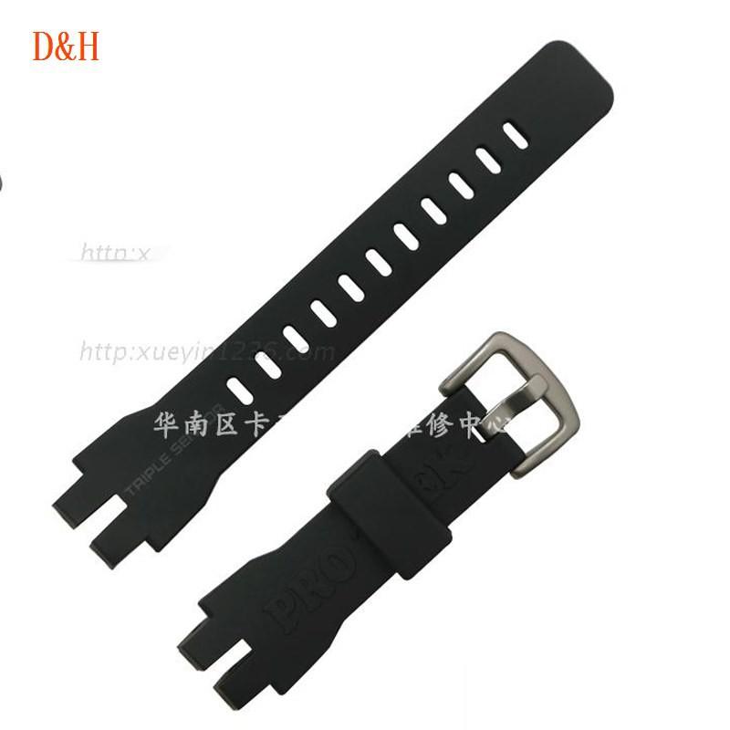 卡西歐CASIO原裝PRW-3000/3100/PRG-300銀色扣黑色樹脂錶帶錶鏈