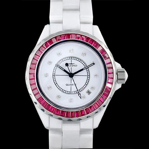 【KATINO】大紅寶石白面陶瓷石英錶KCW302WZR