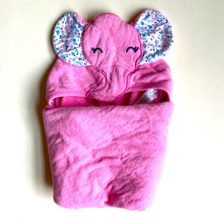 Carter's 粉紅大象寶寶連帽浴巾毛巾 包巾OS size 台北市