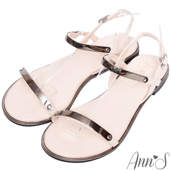 Ann'S韓妞日常-極簡軟金屬寬版平底涼鞋-黑