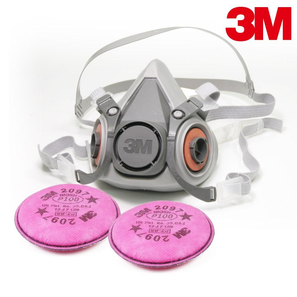 3M 6200防毒口罩組合 搭3M-2097 P95等級防塵濾棉 可過濾微細粉塵/有機氣體臭味6200x2097