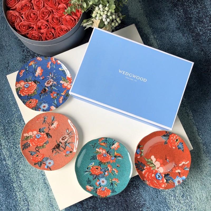(C&B禮品)英國🇬🇧WEDGWOOD 瑋緻活 骨瓷 牡丹系列 餐盤 四件套 禮盒套裝 禮物