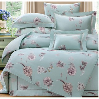 60支100%純天絲TENCEL【雙人 加大 特大組合】規格可選  兩用被床包四件組 七件式鋪棉床罩組  貝茉莉綠 台中市