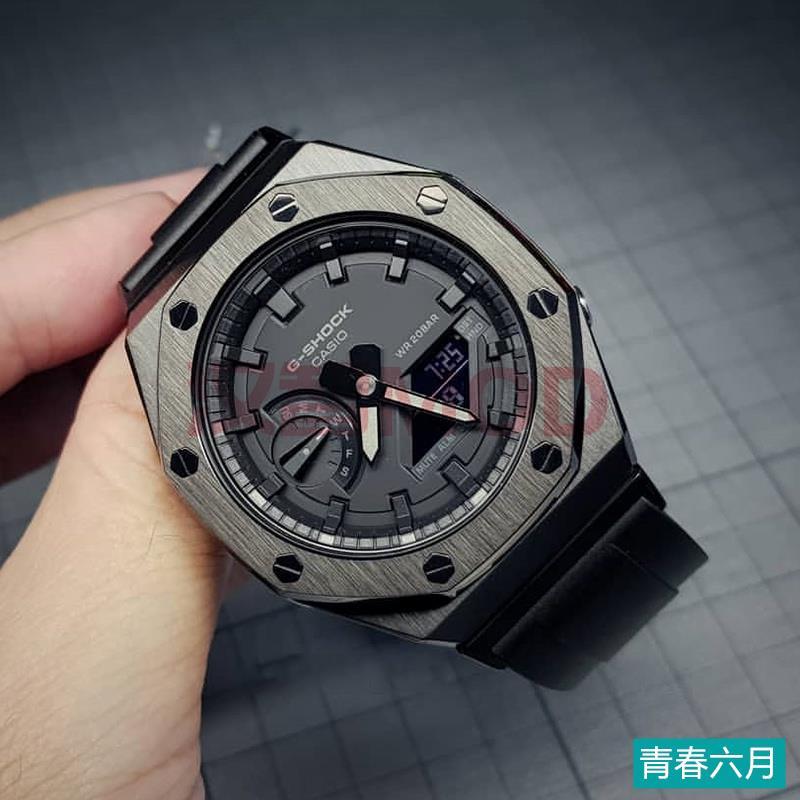 精品熱銷ga2100改裝件二代純黑色錶殼卡西歐農家橡樹改裝表帶轉接 漢智mod-關注有禮