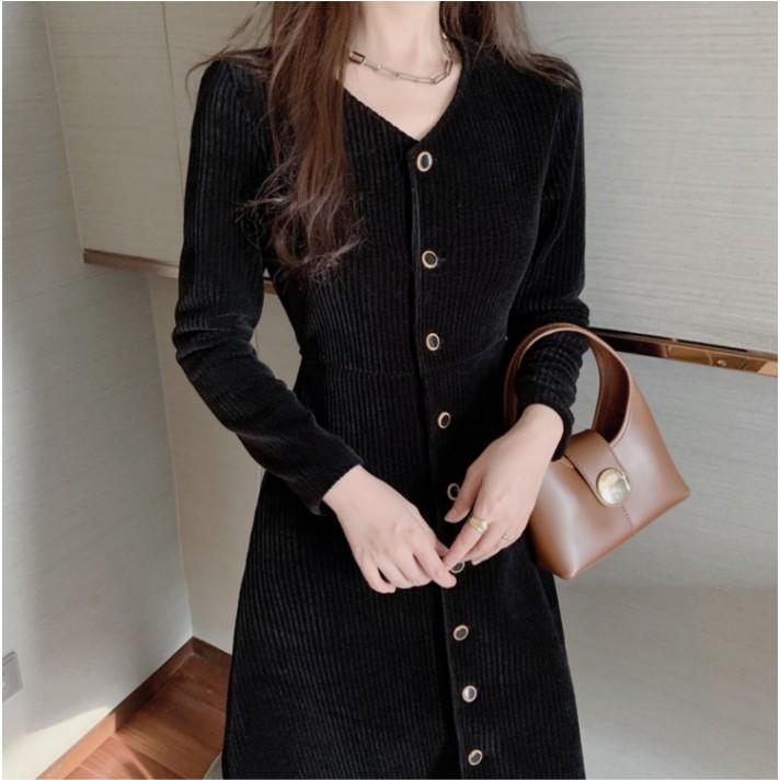 溫柔風長裙修身顯瘦氣質修洋裝黑色長袖洋裝