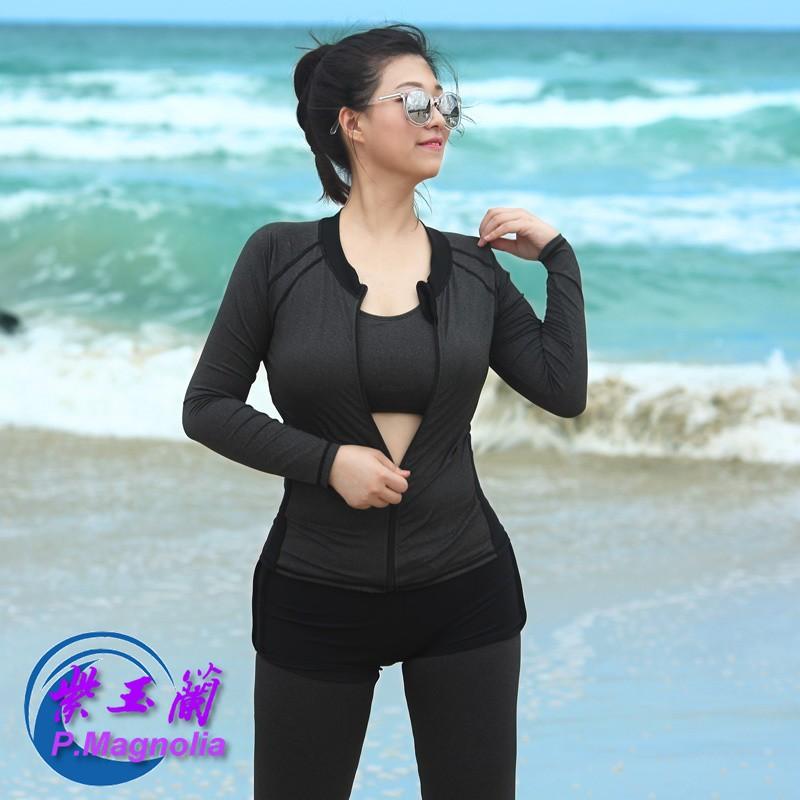 大碼泳衣/XL-5XL/分體女5件組無鋼圈/長袖衝浪浮潛水母衣泳裝*紫玉蘭 1902