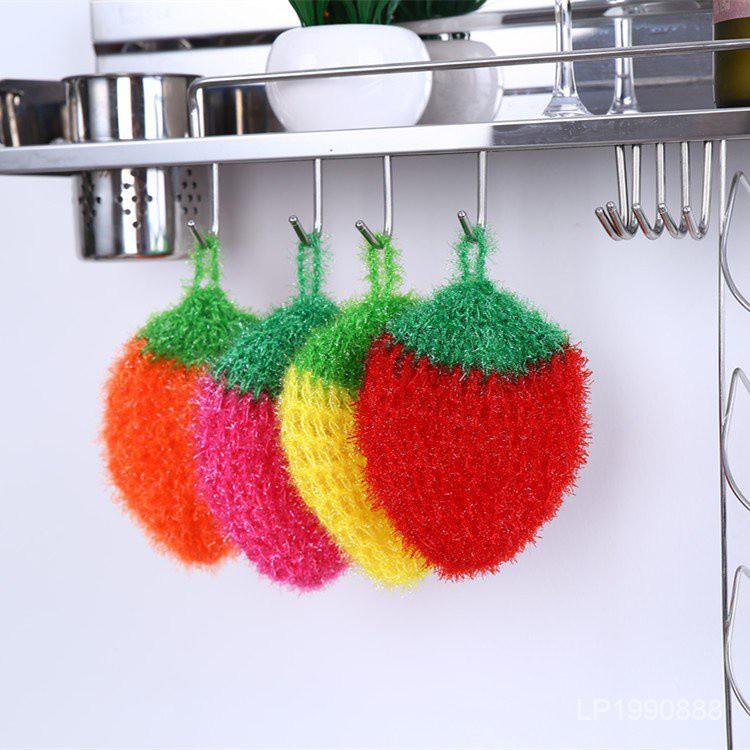 【全場五折 】韓國亞克力洗碗巾 廚房去污去油百潔布 手工鉤花草莓洗碗布