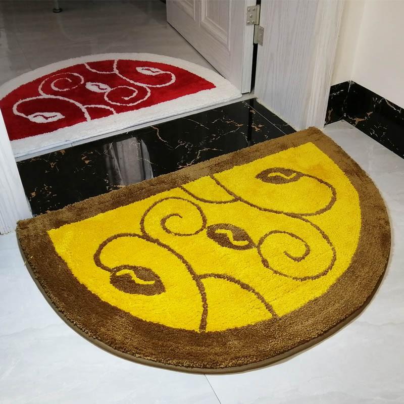 【全館免運】定制金黃色半圓形門口進門地墊門墊大紅色白樹葉防滑腳墊臥室地毯