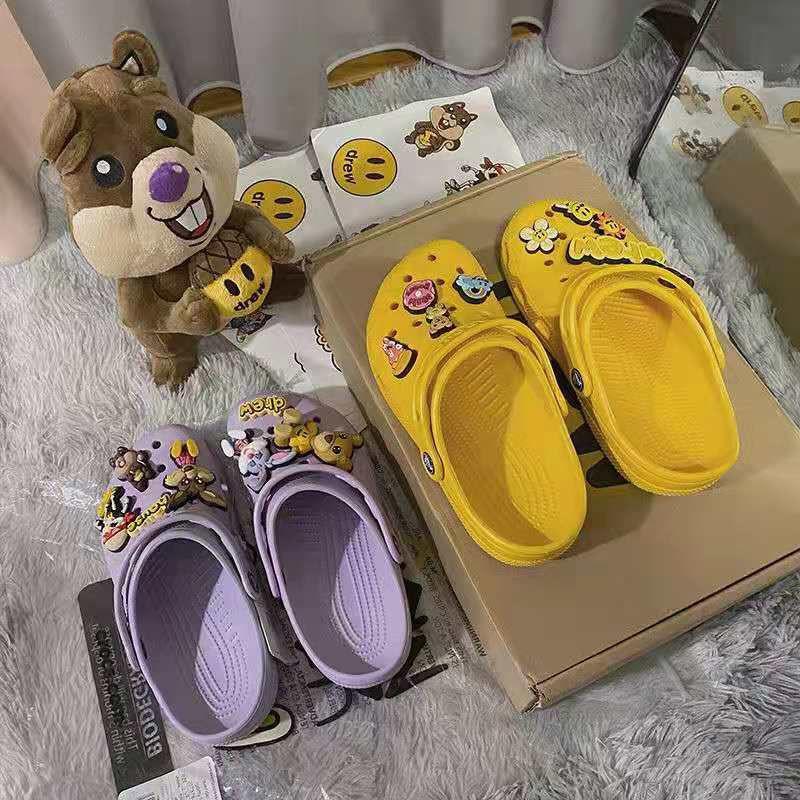 ✨洞洞鞋休閒外出百搭Drew House Justin聯名賈斯汀比伯同款涼拖鞋香芋紫色洞洞鞋沙灘