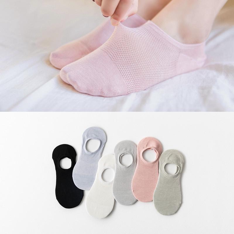 夏季船襪女 純棉網眼隱形襪透氣淺口防滑硅膠糖果色女襪子