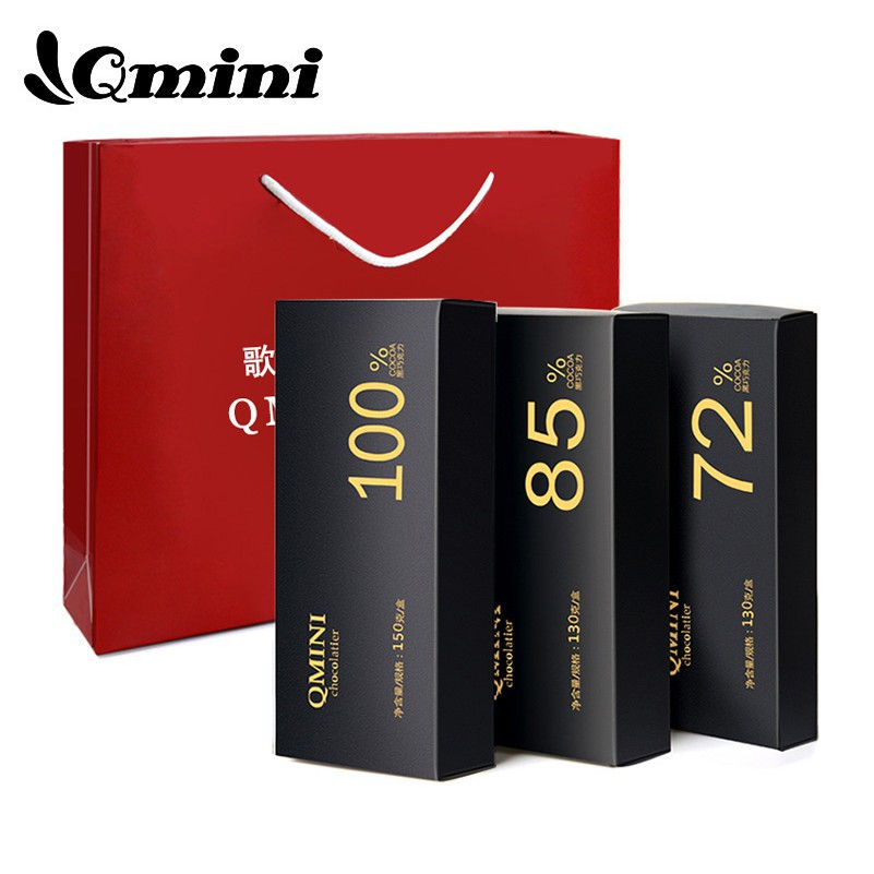 年貨節QMINI 純黑巧克力三口味100%85%72%禮盒裝零食 生日禮物送女友月宮