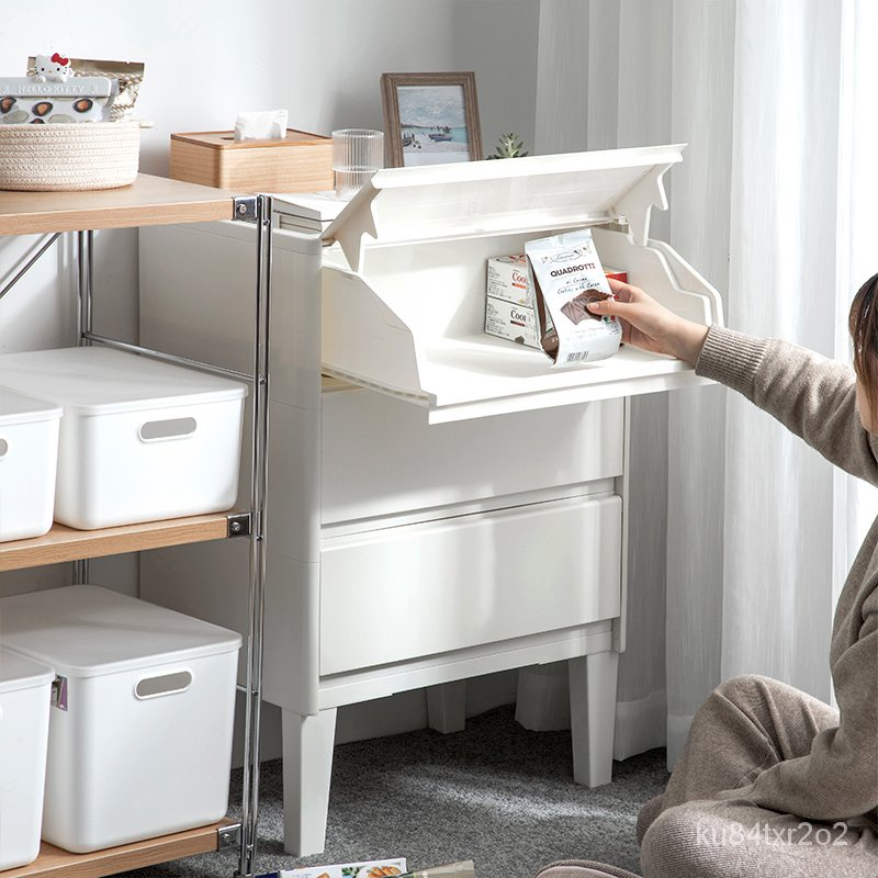 #新款 #熱銷 日本進口前開式收納箱櫃斜翻蓋塑料兒童玩具家用抽屜儲物盒整理箱