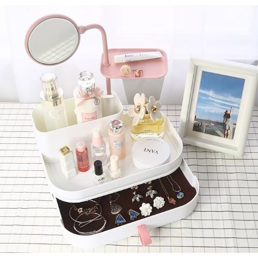 huoli716-歐式化妝品收納盒公主帶鏡子桌面護膚品塑膠置物架簡約家用梳粧檯