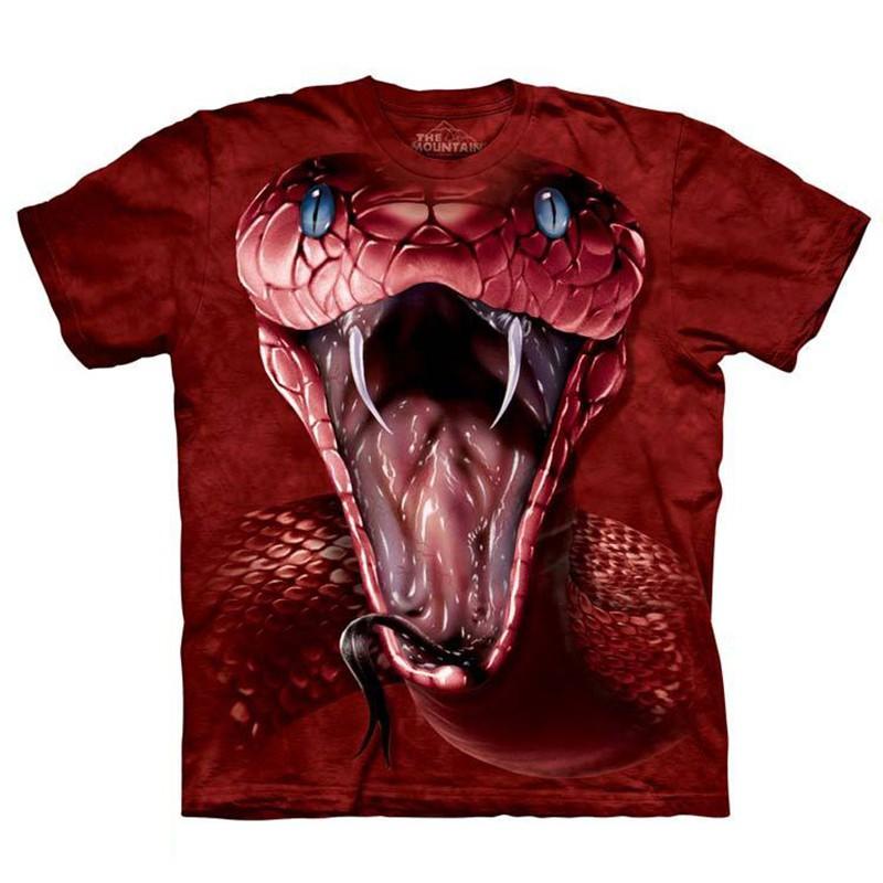美國東海岸The Mountain男t恤純棉印花短袖大碼紅色眼鏡蛇3d衣服